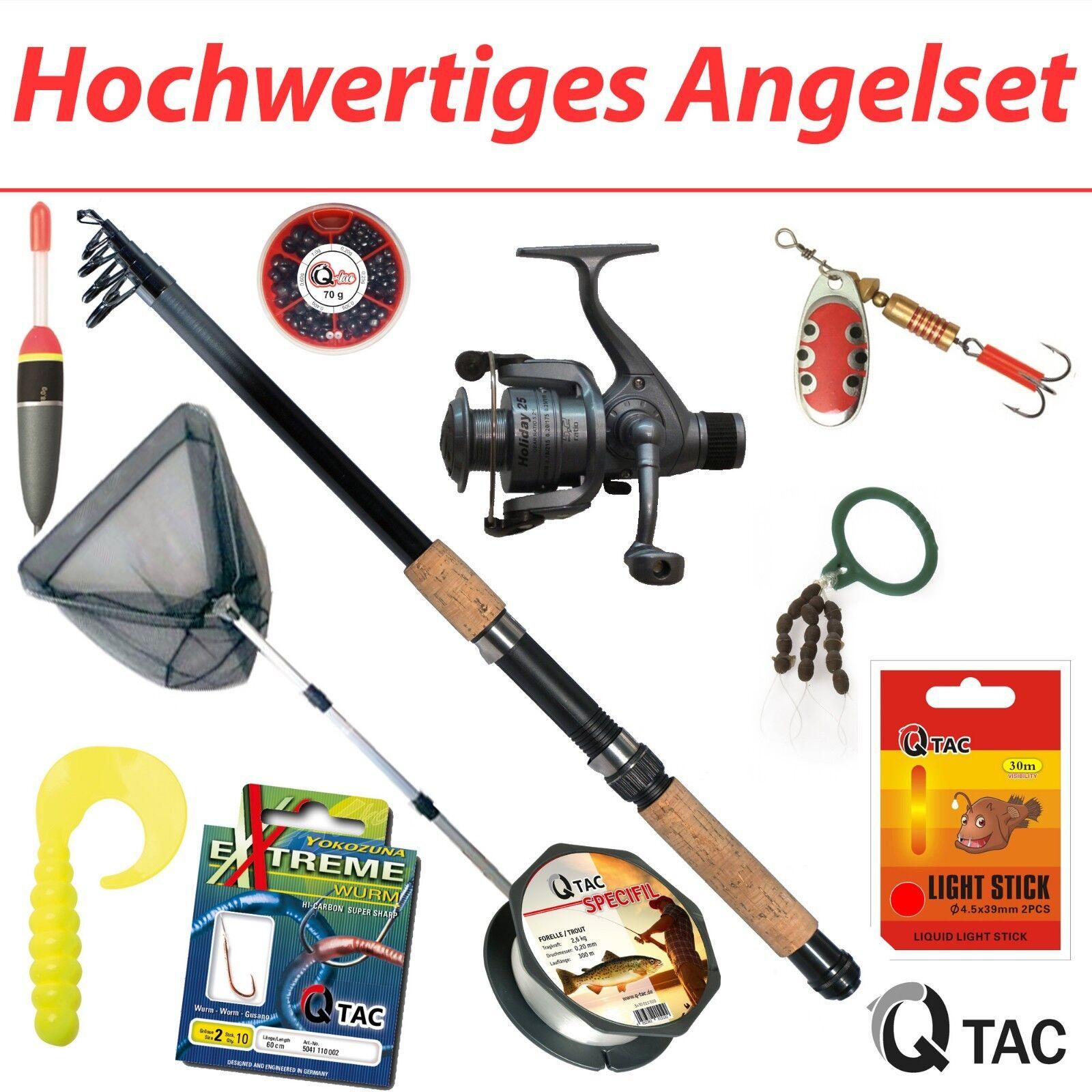 Q-Tac Hochwertiges Angelset - Komplettset Ideal für Profis, Kinder & Einsteiger  | Vorzugspreis