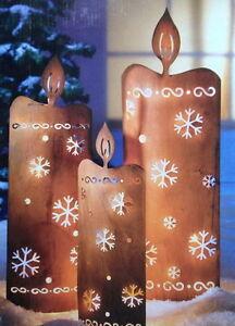 XL-Metall-Kerze-LED-Beleuchtet-Lichterkette-Aussendeko-Weihnachtsdeko-Rost-Finish