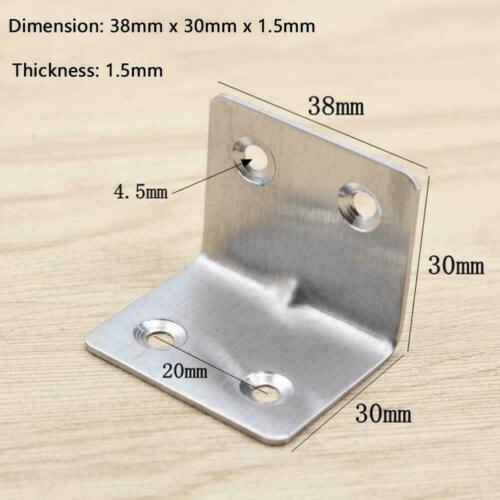 10PCS Stainless Steel Corner Brace Joint Right Angle x Bracket38mm x 1.5mm I7N0