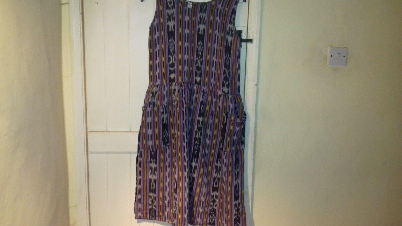 Hippy Boho Sleeveless Dress - M/L Made In Guatemala Multi Unworn 100% Cotton