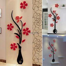 Beautiful 3D Flower DIY Mirror Wall Decals Stickers Art Home Room Vinyl Decor ED