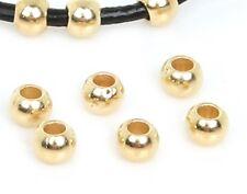 50 Piece Lot 18k Gold 2mm Hole Beads - Spacers DIY For Bracelet Bangle
