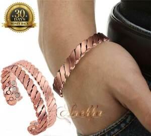 CHUNKY-SOLID-PURE-COPPER-MAGNETIC-MEN-WOMEN-BRACELET-ARTHRITIS-SIZE-M-L-CB65