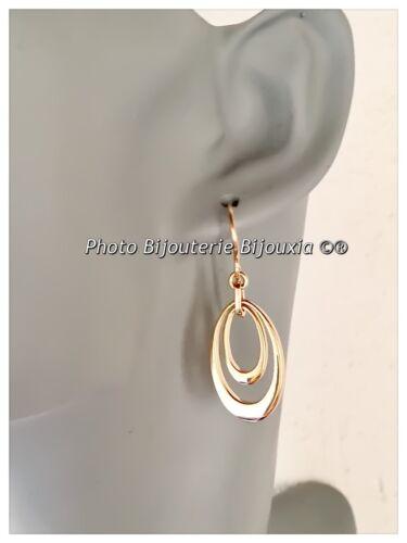 Boucles D/'oreilles Pendantes Double Anneau ovale Plaqué Or 18Carats Bijoux Femme