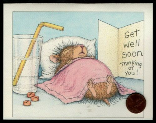 House Mouse Sleeping Glass Pills Blanket Get Well Soon Greeting Blank Note Card