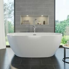 Freestanding Bath 1700 Waste Overflow White Acrylic Double Ended Luxury Modern
