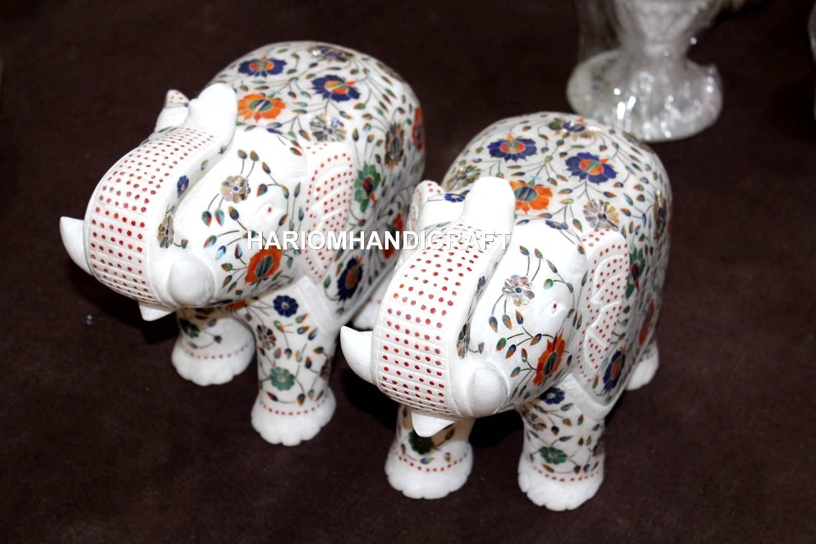 Piedra Preciosa escultura de mármol Elefante Par Multi con incrustaciones de decoración floral pasillo H5721