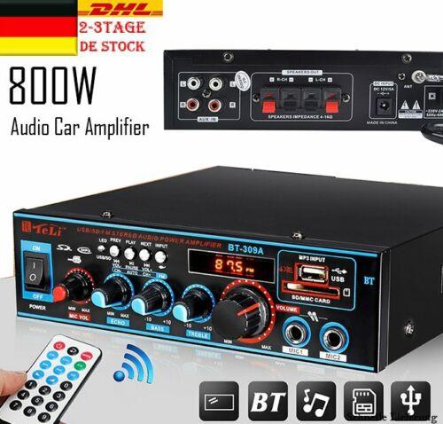 800W HiFi Verstärker Bluetooth Stereo-Vollverstärker Audio Endstufe EU Adapter
