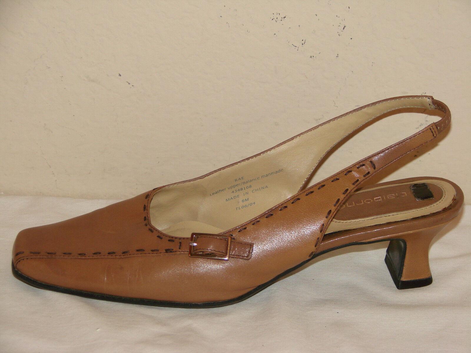 Liz Leather Claiborne Rae Womens Tan Leather Liz Slingback Low Heel Shoe - Size 6M 8d4db0