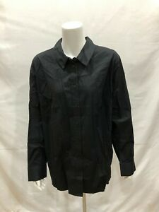 Isaac-Mizrahi-Long-Sleeves-Button-Front-Woven-Tunic-Blouse-Black-Size-22W-QVC