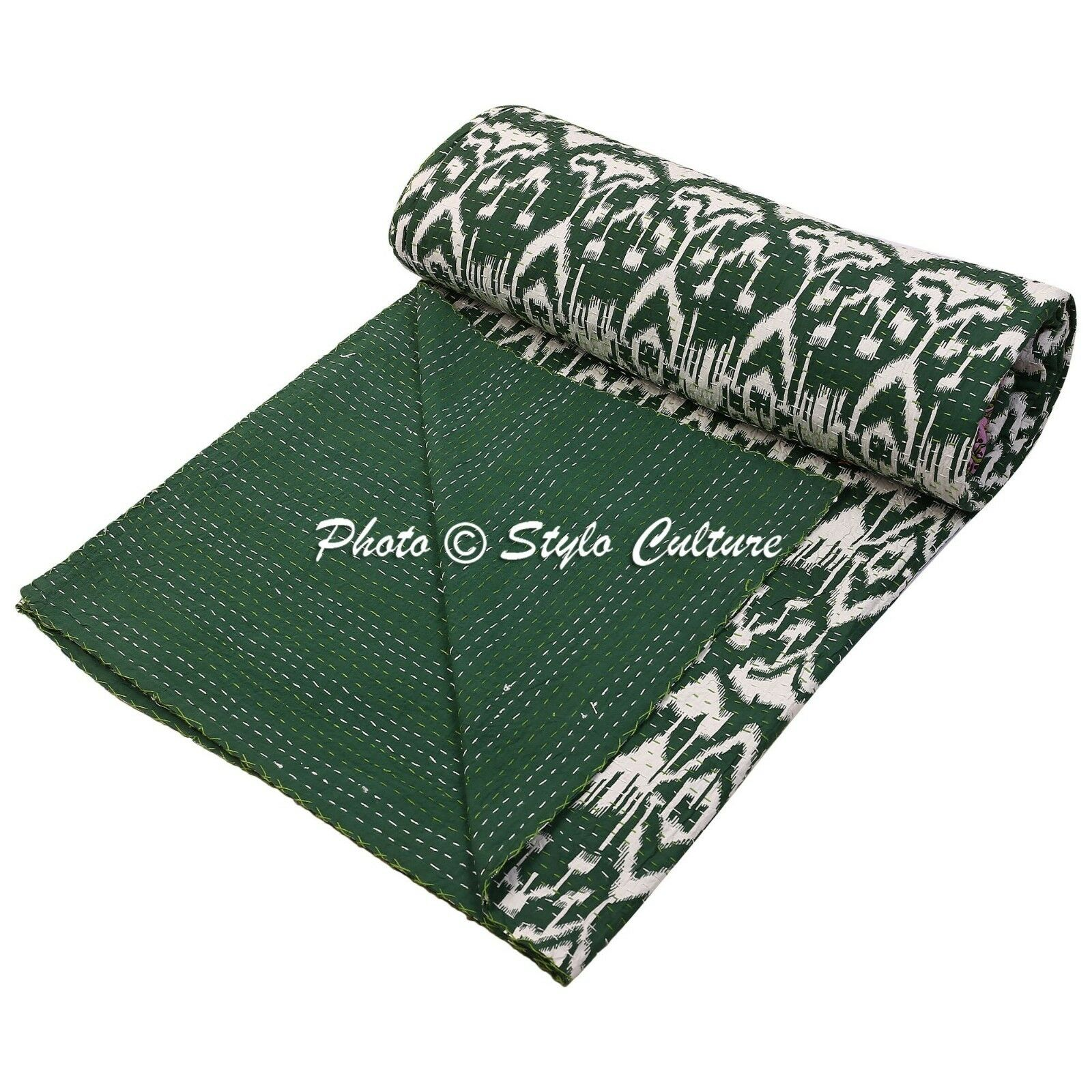 Indian Bedding  Queen Cotton Printed Quilt Ikat Kantha Quilt Coverlet
