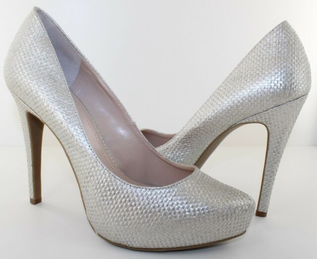 11394c927cfd BCBG Parade Womens Silver Woven Fabric 5   Classic Pumps Heels Shoes Size  ...