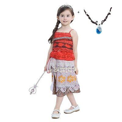 Girls Kids Movie Polynesia princess Moana Costume Birthday Dress ZG9