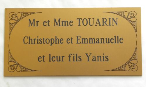 Engraved plate entrance door custom cabinet 3 lines format 75 x 150 mm