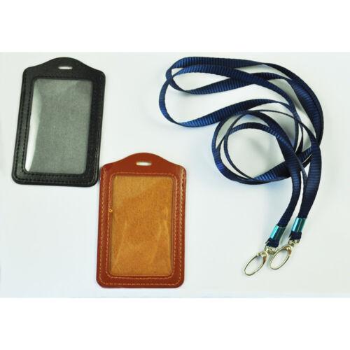 2 Stück Kunstleder Business ID Badge Karten Vertikale Halter Schwarz Braun G2N8