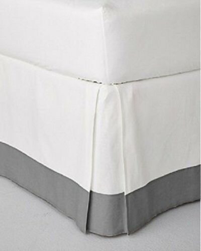 Solid Two Tone 100/% Egyptian Cotton Bed skirt Extra Drop White -Silver Grey