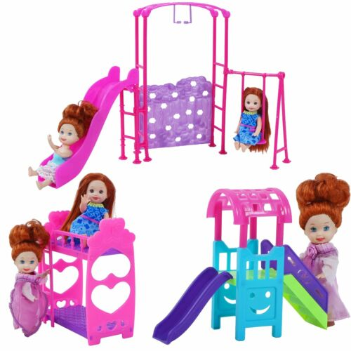 Cute Nursery Dollhouse Pink Infant Bunk Bed Swing Slide Furniture of Girl Doll