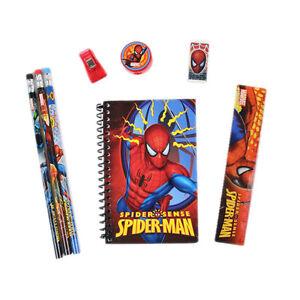 Marvel Spiderman Red Stationary Set Pencils Ruler Eraser 8pc