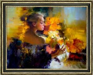 Oil-painting-original-Art-Impressionism-Portrait-girl-Flower-on-canvas-30-034-x40-034