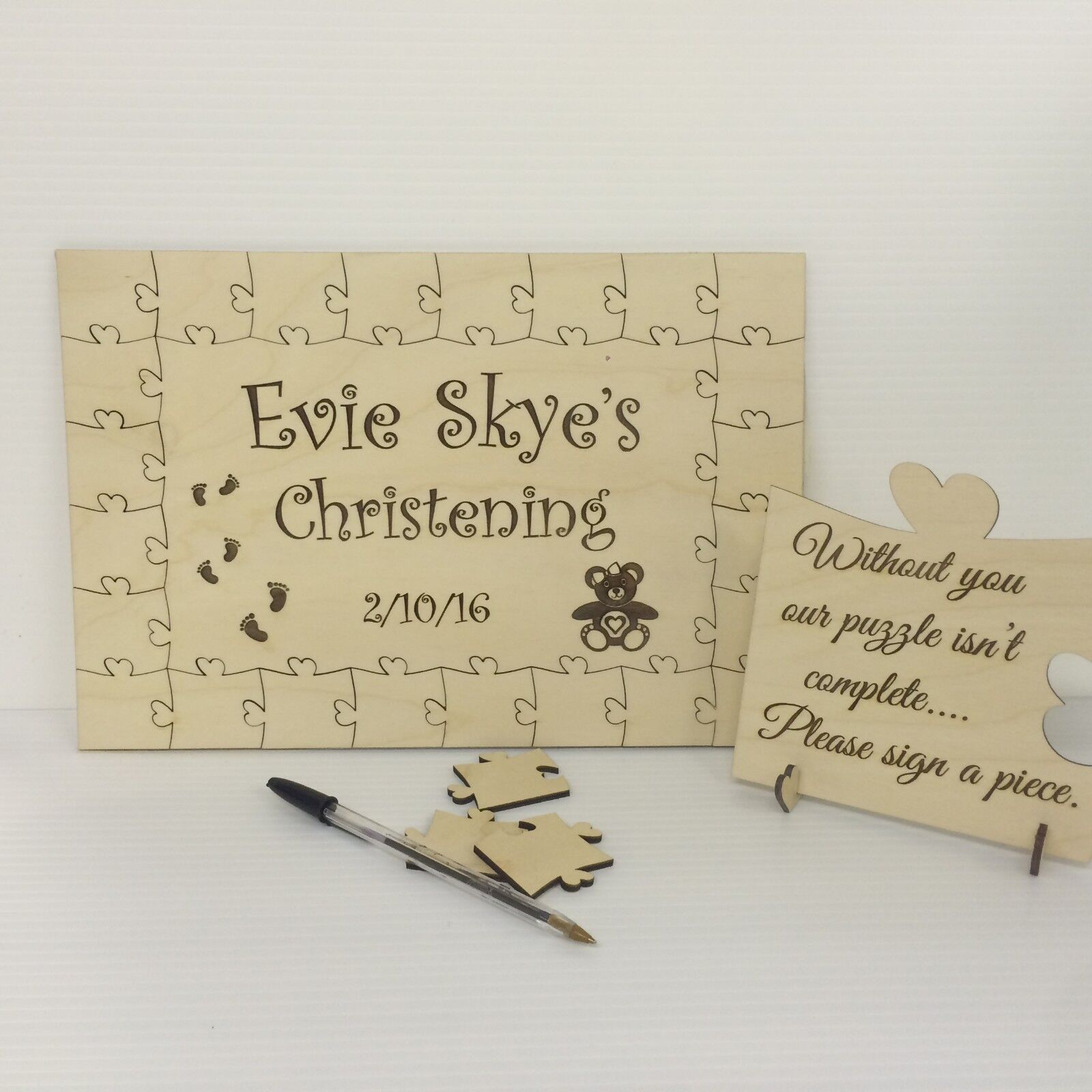 Personalised christening bear1 wooden jigsaw guest book puzzle keepsake gift