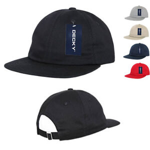Decky-Washed-Cotton-Relaxed-Crown-Flat-Bill-Hip-Dad-Style-Strapback-Hats-Caps