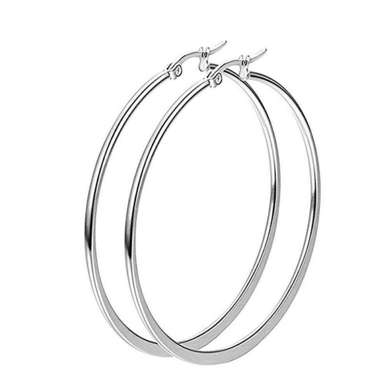 "Unique & Elegant Pure 925 Sterling Silver Big Round Hoop 2.75"" Fashion Earrings"