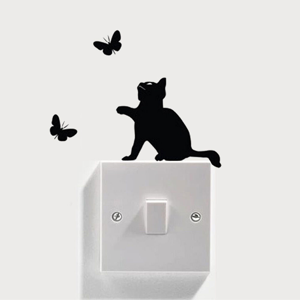 Various Colours Available Novelty Lady Holding Cat Light Switch Sticker