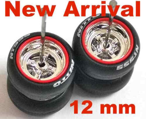 4-Spoke 12 mm chrome silver rims 1:64 rubber tires 5 sets fit Hot Wheels