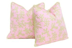 7716727b47cd23 Lilly Pulitzer's Color Me Coral Feather/Down Pillows - a Pair | eBay
