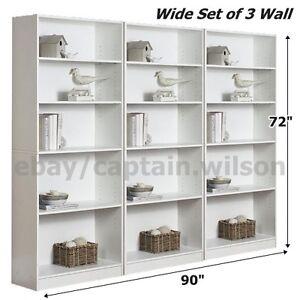 white wide 5 shelf bookcase storage organizer bookshelves 3 adjustable shelves - Gold Bookshelves