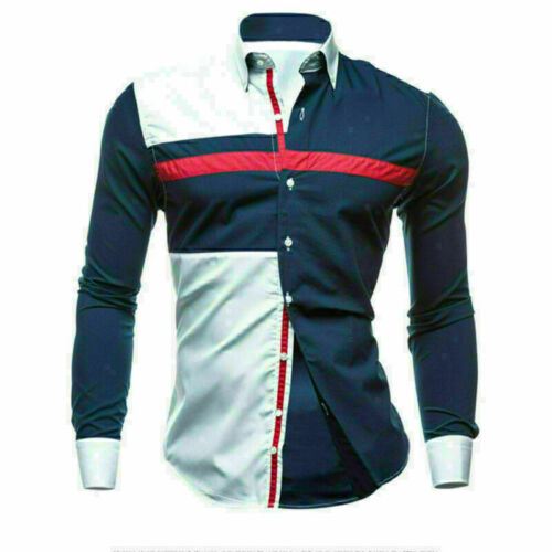 Fashion Cotton Men/'s Long Sleeve Lapel Shirt Stitching Color Slim Shirts Tops