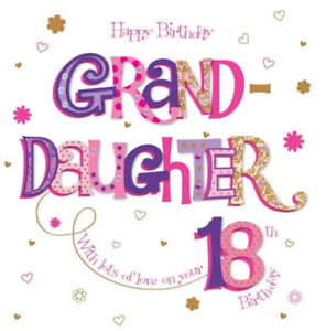 Image Is Loading 8 034 X8 Large Granddaughter 18th Birthday