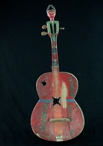Art-Africain-Guitare-Traditionnelle-Agni-Ancienne-Qualite-Museale-89-Cms