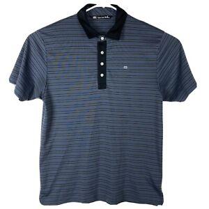 Travis-Mathew-Embroidered-Polo-Golf-Shirt-Mens-Size-L-Gray-Stripe