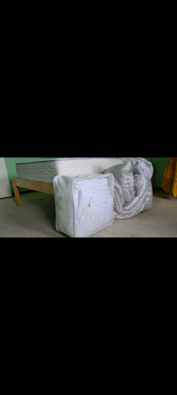 3/4 bed, mattress and bedding for sale