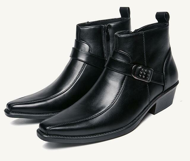 Stylish Mens Pointed Toe Buckle High Top British Ankle Boots Hidden Heel shoes