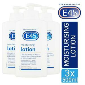 3 x E45 Dermatological Moisturising Lotion 500ml For Dry And Sensitive Skin