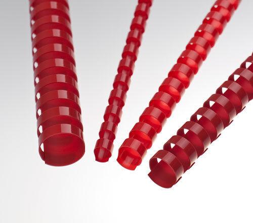 10 Plastikbinderücken 8 mm 21 Ringe rot Binderücken