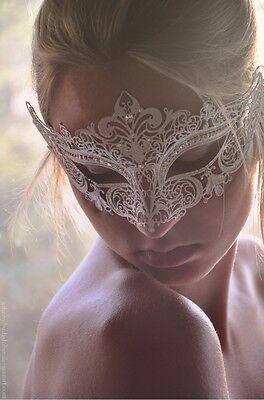 Luxury White Laser Cut Venetian Mardi Gras Masquerade Mask - Made of Light Metal