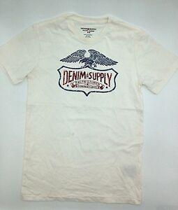 95-Ralph-Lauren-Men-White-Red-Blue-Eagle-D-amp-S-Logo-Crew-Neck-T-Shirt-Tee-Size-L