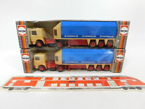 Cg579-0-5-2x-Herpa-h0-1-87-818222-remolcarse-sz-camion-MAN-vidrio-plano-Neuw-embalaje-original
