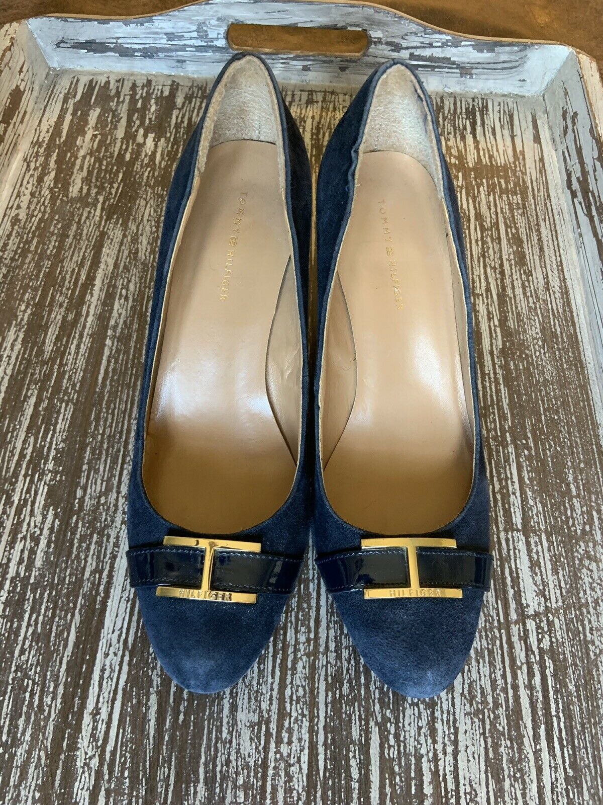 Tommy Hilfiger Twreda Faux Suede Blue Wedges with… - image 3