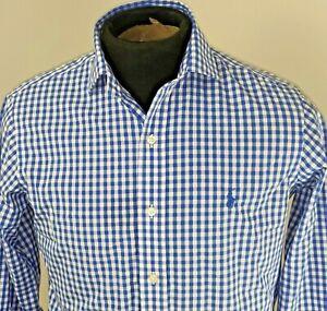 Ralph-Lauren-Mens-Long-Sleeve-Gingham-Button-Front-Shirt-Size-14-5-32-33-Blue