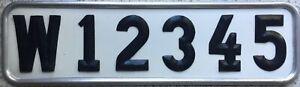 GENUINE-Pre-1973-Kopparberg-Sweden-Swedish-SAMPLE-License-Number-Plate-W-12345