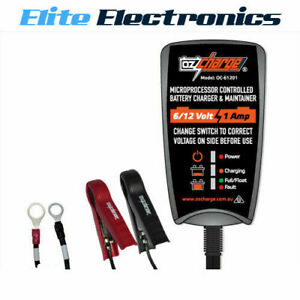 OZCHARGE 6 / 12 VOLT 1 AMP BATTERY CHARGER & MAINTAINER TRICKLE CHARGER