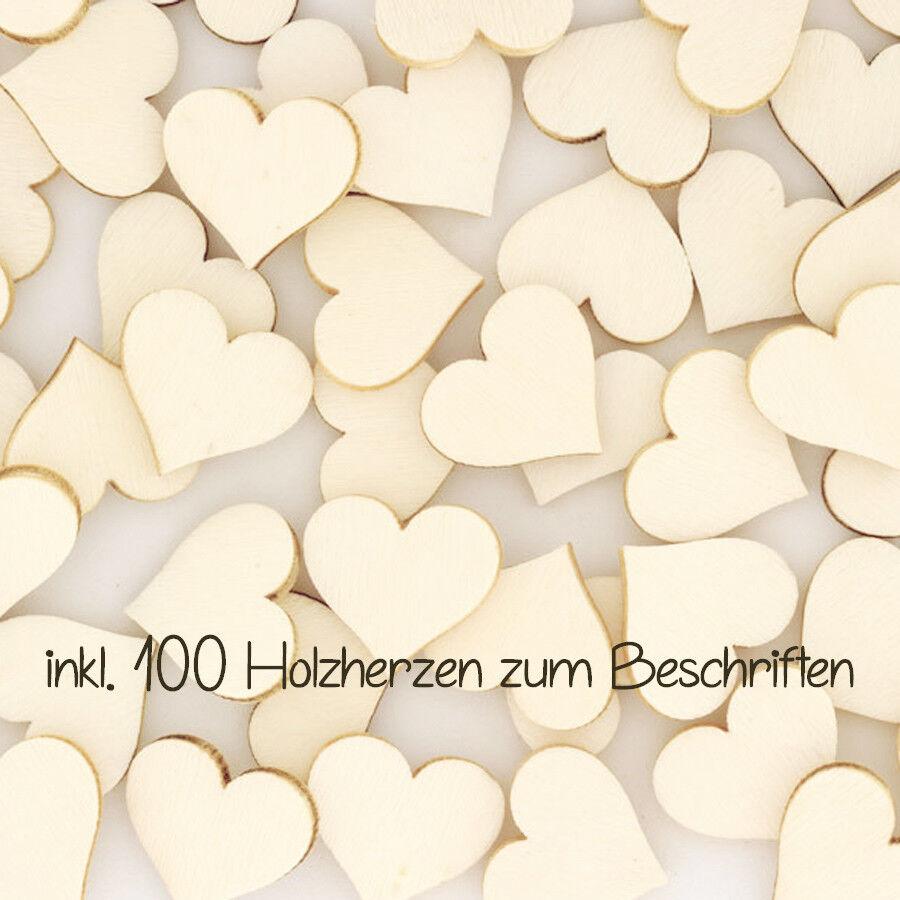 Gästebuch Herz Herz Herz Rahmen Hochzeit für 100 Pers. dunkle Eiche   Weiß + Zubehör 1361a9
