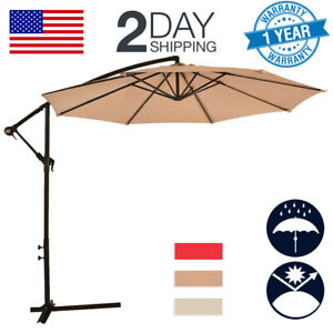 New-Tan-Patio-Umbrella-Offset-10-039-Hanging-Umbrella-Outdoor-Market-Umbrella