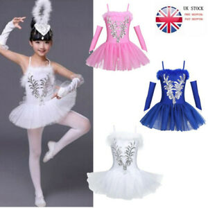 aab3e191a UK Girls Gymnastics Ballet Dress Kids Leotard Tutu Skirt Dance Swan ...