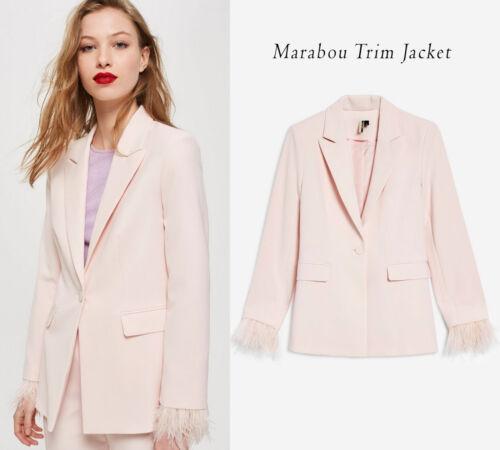 Topshop NUOVA STAGIONE Marabou Trim Giacca In rosa chiaro