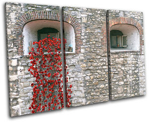 Tower of London Poppies City TREBLE CANVAS WALL ART Picture Print VA